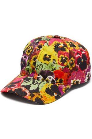 Loewe Men Caps - Pansy-print Logo-patch Cotton Baseball Cap - Mens - Multi