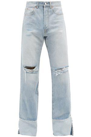 Vetements Men Wide Leg - Distressed Wide-leg Jeans - Mens