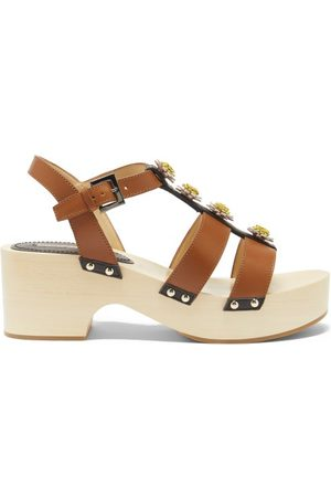 Fabrizio Viti Linda Floral-appliqué Leather Sandals - Womens - Tan