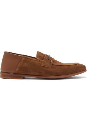 Dunhill Chiltern Horsebit Suede Loafers - Mens - Tan