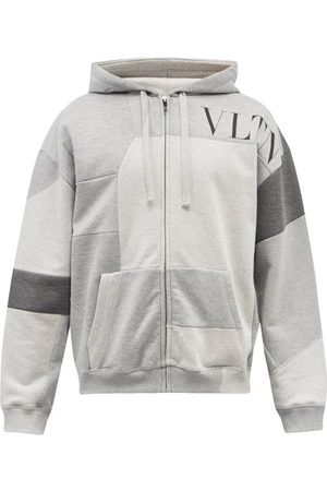 VALENTINO Men Sweatshirts - Vltn-logo Patchwork Jersey Hooded Sweatshirt - Mens - Grey