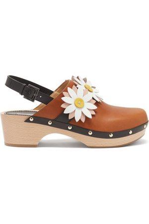 Fabrizio Viti Carly Floral-appliqué Leather Slingback Clogs - Womens - Tan
