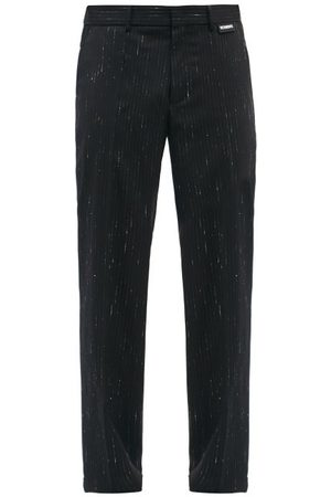 Vetements Men Wide Leg Pants - Pinstripe Wool-blend Wide-leg Trousers - Mens