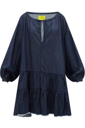MARQUES'ALMEIDA Women Casual Dresses - Oversized Tiered Washed-denim Mini Dress - Womens - Mid Denim