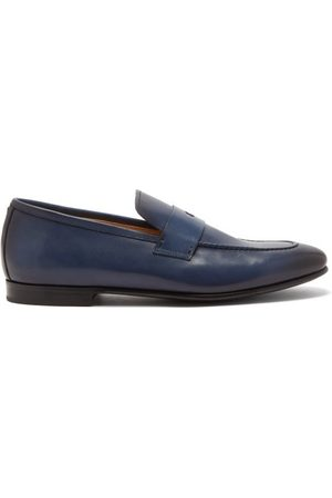 Dunhill Men Loafers - Chiltern Patinated-leather Penny Loafers - Mens - Navy