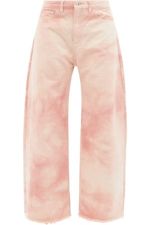 MARQUES'ALMEIDA Women Wide Leg - Frayed-cuff Tie-dye Organic-cotton Wide-leg Jeans - Womens
