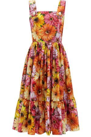 Dolce & Gabbana Women Printed Dresses - Gerbera-print Cotton-poplin Midi Dress - Womens