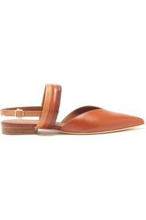 MALONE SOULIERS Myla Point-toe Slingback Leather Flats - Womens - Tan Multi