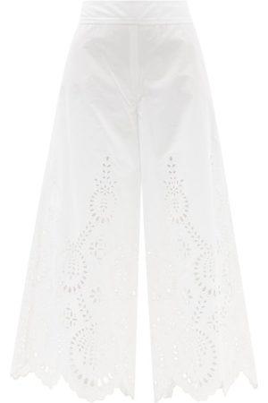 VALENTINO Sangallo-embroidered Wide-leg Cotton Trousers - Womens