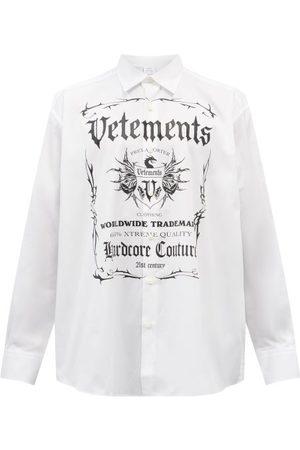 Vetements Black Label-print Cotton Shirt - Mens