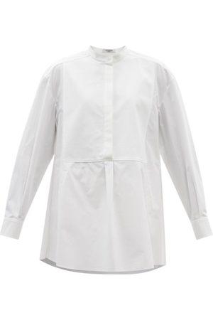 VALENTINO Women Shirts - Stand-collar Bib-front Cotton Shirt - Womens