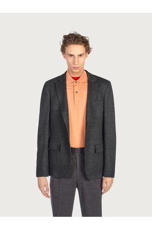Salvatore Ferragamo Men Unlined single breasted blazer Grey