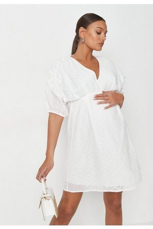 Missguided Women Party Dresses - Broderie Maternity Mini Dress