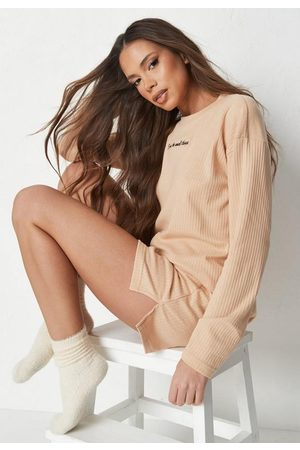 Missguided Beige Rib Embroidered T Shirt And Shorts Loungewear Set