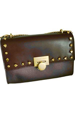 CHARLES & KEITH Women Purses - Burgundy Leather Handbags