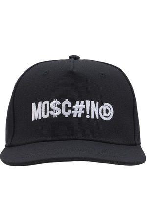 Moschino Logo Embroidered Cotton Canvas Flat Cap