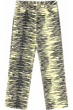 Ganni Print Denim High-Waisted Bootcut Jeans