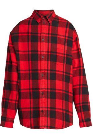 Balenciaga Classic Plaid Check Print Shirt Red