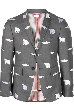 Thom Browne Animal-print single-breasted blazer - Grey