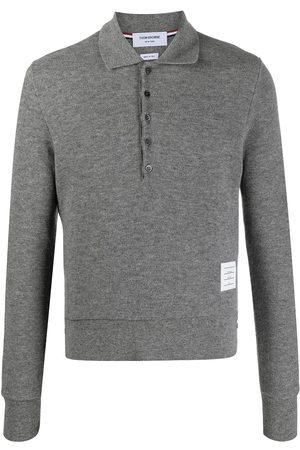 Thom Browne Long-sleeved cashmere polo shirt - Grey
