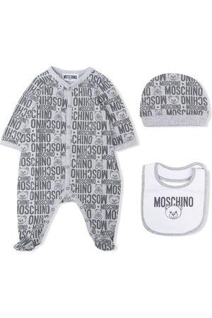 Moschino Monogram print babygrow set - Grey