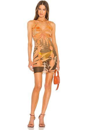 KIM SHUI Cut Out Mini Dress in Peach.