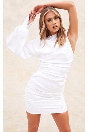 PrettyLittleThing One Sleeve Ruched Woven Bodycon Dress