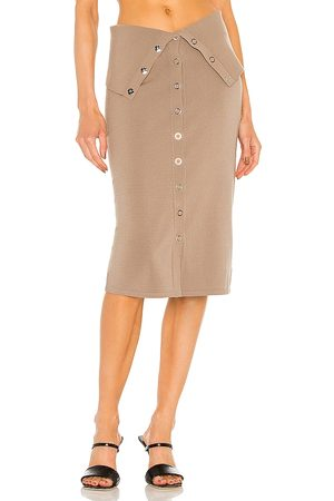 DION LEE Hosiery Placket Skirt in Taupe.