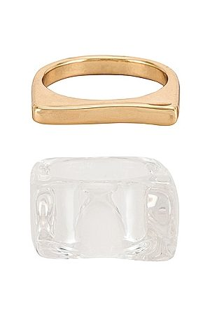8 Other Reasons Ice_ice_B4by Ring Set in Metallic Gold.