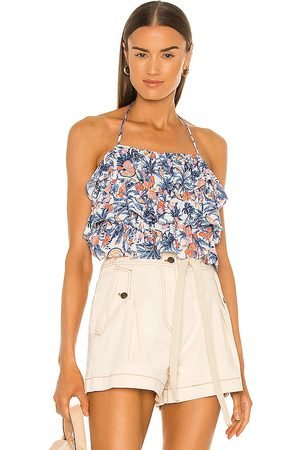 LINE & DOT Sunday Ruffle Tropical Print Halter Top in Blue.