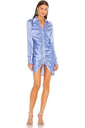 KIM SHUI Ruched Silk Mini Dress in Blue.