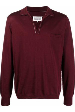 Maison Margiela Men Polo Shirts - Long-sleeved knitted polo shirt