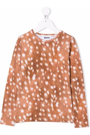Molo T-shirts - Baby-fawn print T-shirt - Neutrals