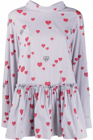 Love Moschino Embroidered-heart coupè blouse