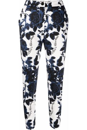 Love Moschino Cropped rose-print cotton-blend trousers