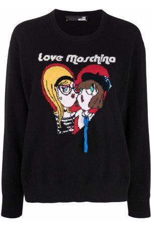 Love Moschino Graphic-knit crewneck jumper