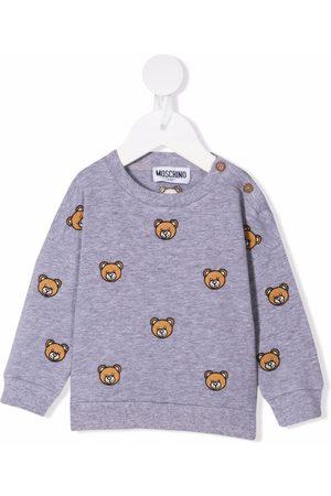 Moschino Teddy Bear-embroidered stretch-cotton sweatshirt - Grey