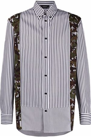 VERSACE Men Shirts - Baroque-panel striped shirt