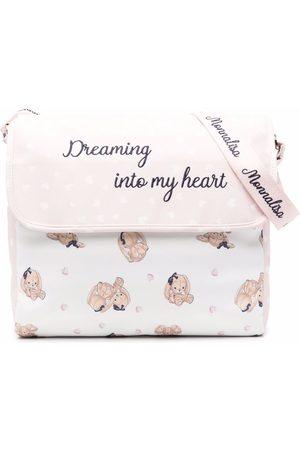 MONNALISA Baby Changing Bags - Slogan-embroidered bear-print changing bag