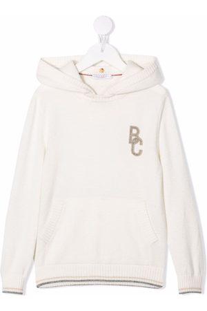 Brunello Cucinelli Logo-patch pullover hoodie - Neutrals