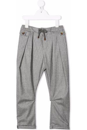 Brunello Cucinelli Boys Pants - Pinstripe wool trousers - Grey