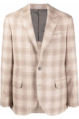 Brunello Cucinelli Check-pattern single-breasted blazer - Neutrals