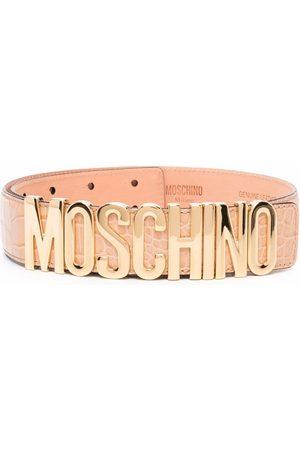 Moschino Logo-plaque leather belt - Neutrals