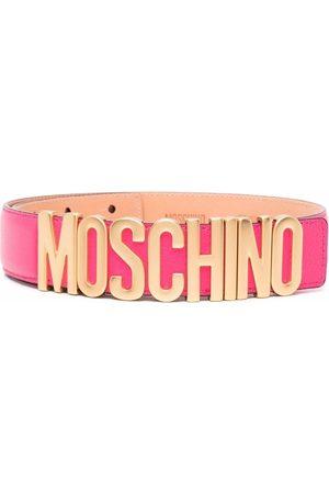 Moschino Logo-plaque leather belt