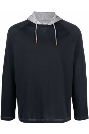 Eleventy Men Hoodies - Two-tone cotton hoodie