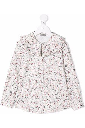 Il gufo Floral ruffle blouse - Neutrals