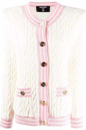 Balmain Women Cardigans - Shoulder-pad cable knit cardigan - Neutrals