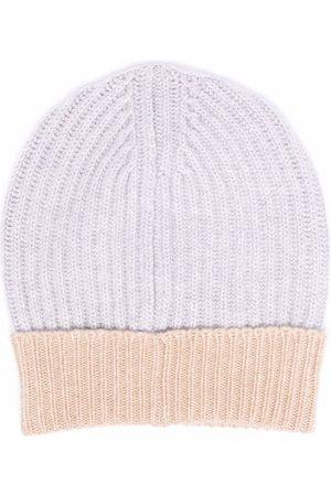 LORENA ANTONIAZZI Two-tone intarsia-knit beanie - Grey