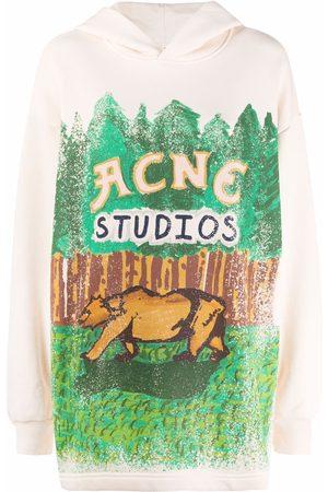 Acne Studios Graphic-print pullover hoodie - Neutrals