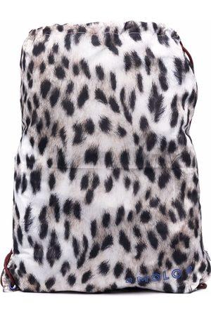 Molo Kids Kit Snowy Feo Fur-print backpack - Neutrals